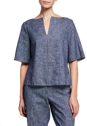 Partow Brant Short-Sleeve Cotton/Linen Denim Tunic