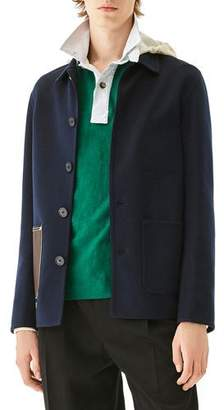 Loewe Men's Wool-Blend Hooded Jacket with Leather Patch