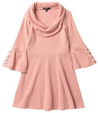My Michelle mymichelle Faux Pearl Detail Sleeve Cowl Neck Dress (Big Girls)