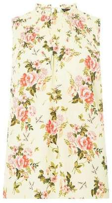 Dorothy Perkins Womens Lemon Floral Frill Neck Top