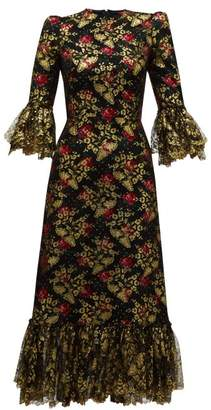 The Vampire's Wife The Wild Rose Ruffled Fil Coupe Midi Dress - Womens - Black Red