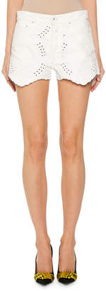 Off-White Off White Lace-Embroidered Mini Shorts