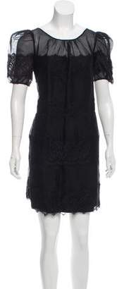 ALICE by Temperley Lace-Trimmed Silk Dress