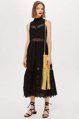 Topshop Sleeveless Broderie Midi Dress