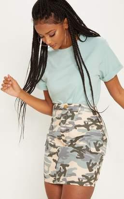 PrettyLittleThing Grey Cargo Camo Mini Skirt