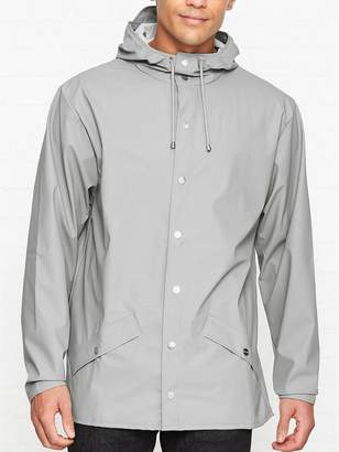 Rains Hooded Waterproof Rain Jacket- Stone