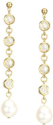 Jules Smith Designs Bling 14K Yellow Goldplated, Crystal & 12MM Freshwater Pearl Drop Earrings