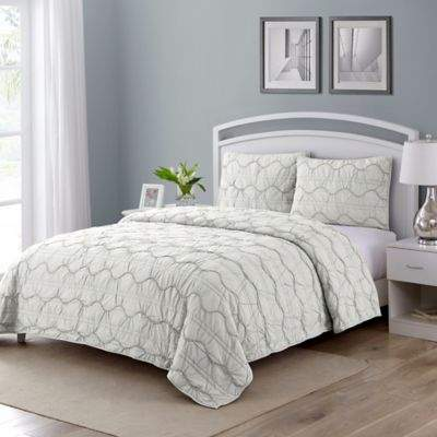 Wonder Home Birmingham Queen Quilt Set in White