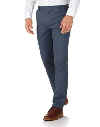 Charles Tyrwhitt Airforce Blue Extra Slim Fit Flat Front Non-Iron Cotton Chino Pants Size W30 L30