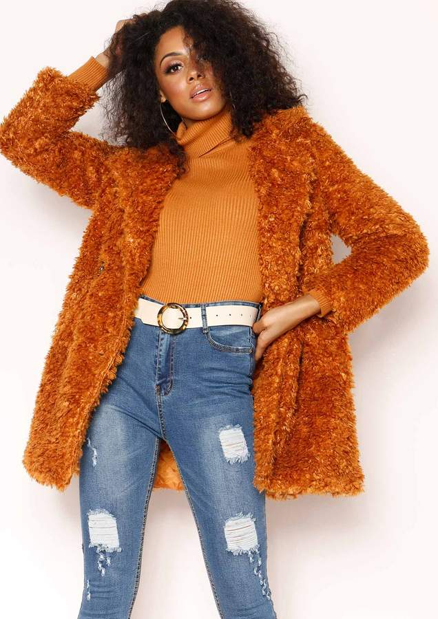 Missyempire Kerry Rust Teddy Faux Fur Coat