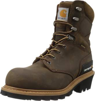 "Carhartt Men's 8"" Waterproof Composite Toe Leather Logger Boot CML8369 Crazy Horse Brown Oil Tanned M US"