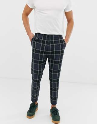 dd2aa9a6 Asos Design DESIGN skinny crop smart trouser in navy check with ticket  pocket detail
