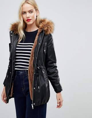 Whistles faux fur lined waxy parka coat