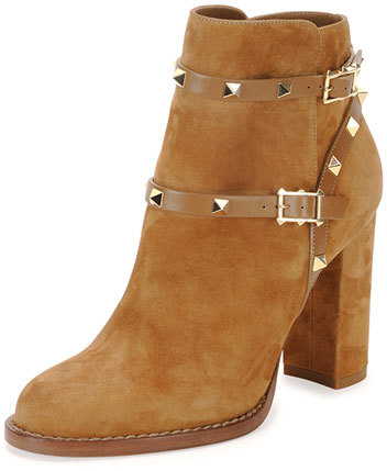 Valentino Rockstud Suede Chunky-Heel Boot, Tan
