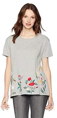 Serene Bohemian Women's Round Neck Basic Tee with Floral Embroidery at The Hem Gray