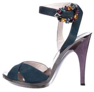 Emilio Pucci Ponyhair Ankle Strap Sandals