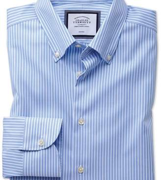 Charles Tyrwhitt Slim fit button-down business casual non-iron sky blue and white stripe shirt