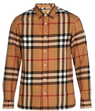 Burberry Richard Checked Cotton Flannel Shirt - Mens - Beige Multi