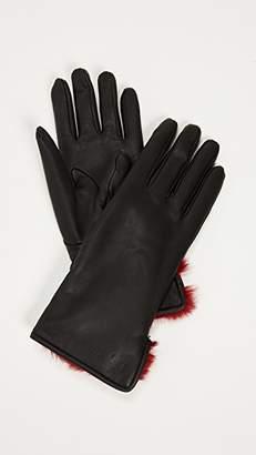 Salvatore Ferragamo Leather & Fur Gloves