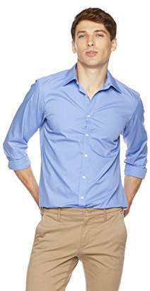 Clifton Heritage Men's Classic Fit Full Buttondown Front Long-Sleeve Business Shirt M Turquoise Blue