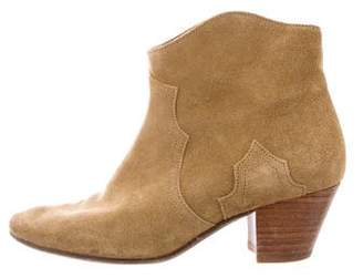 Isabel Marant Dicker Suede Round-Toe Ankle Boots