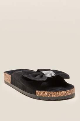 Bling Bow Embellished Footbed Sandal - Black