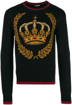 Dolce & Gabbana crown-intarsia crew-neck jumper