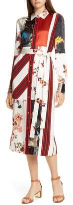 Tory Burch Printed Patchwork Long Sleeve Silk Blend Shirtdress