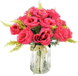 Creative Displays Dark Pink Rose Bunch With Heather In A Glass Mason Jar
