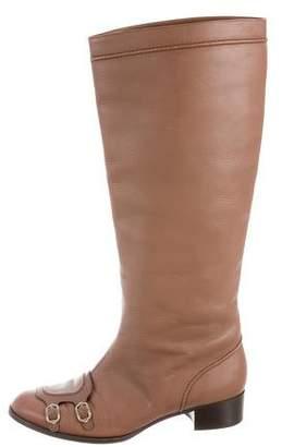 Salvatore Ferragamo Round-Toe Knee-High Boots