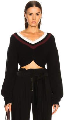 Alexander Wang Hybrid Meets Varsity Twist Front Sweater