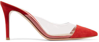 Gianvito Rossi Plexi 85 Suede And Pvc Mules - Red