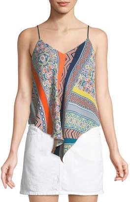 Ramy Brook Amal Freya Mixed-Print Silk Scarf Camisole