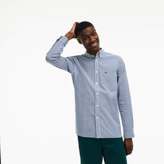 b48568d7db4e8e Lacoste Men s Slim Fit Gingham Stretch Cotton Poplin Shirt