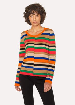 Paul Smith Women's Multi-Coloured Stripe Scoop Neck Sweater
