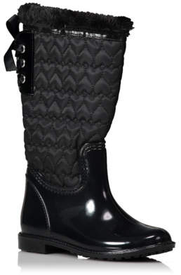 George Black Quilted Wellington Boots