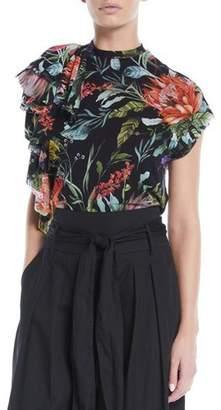 Fuzzi Botanical Floral-Print Short-Sleeve Top