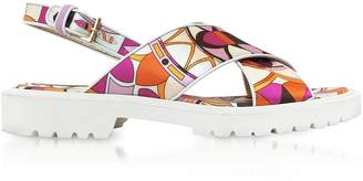 Emilio Pucci Arenal Print Twill Silk Sandals