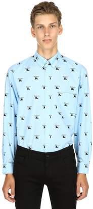 Burberry Logo Printed Cotton Poplin Shirt