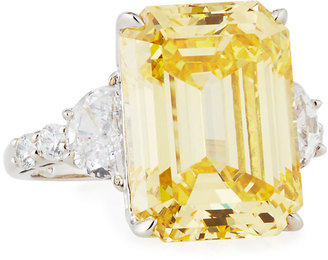 Fantasia by DeSerio Emerald-Cut Canary Yellow CZ Cocktail Ring $440 thestylecure.com