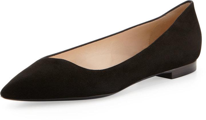 Giorgio Armani Pointed-Toe Saffiano Leather Flat