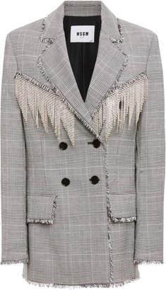 MSGM Crystal-Embellished Houndstooth Crepe Blazer