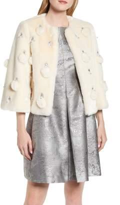 Ted Baker Billiee Embellished Cropped Faux Fur Jacket