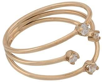 Chicco Zoë 14kt yellow gold 3 thin band mixed prong diamond ring