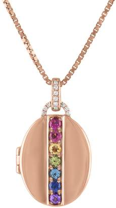 story. My Rainbow Multi-Gemstone Oval Locket Necklace - Rose Gold