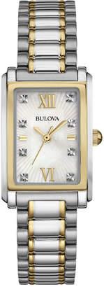 Bulova Women's Diamond Accent Two-Tone Stainless Steel Bracelet Watch 35x23mm 98P144 $299 thestylecure.com