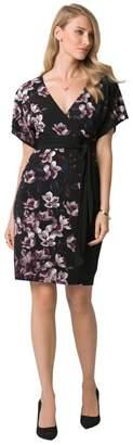 Le Château Women's Floral Print Knit Kimono Dress,M