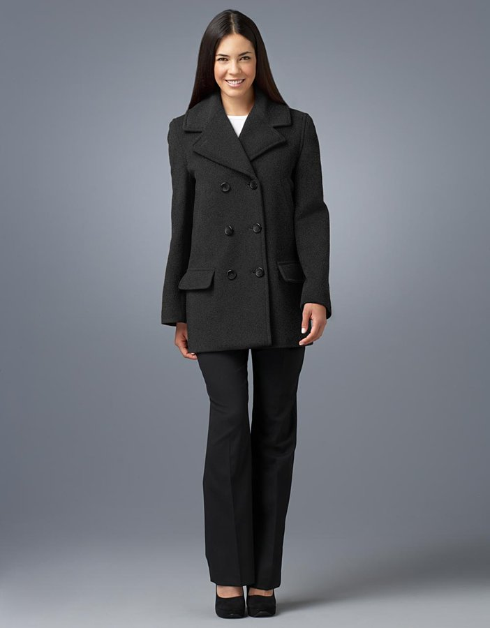 Jones New york Petite Double-Breasted Notch-Collar Pea Coat