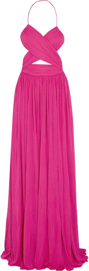 MICHAEL Michael Kors Michael Kors Collection Cutout gathered stretch-cady gown
