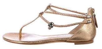 Alexander McQueen Metallic Leather T-Strap Sandals